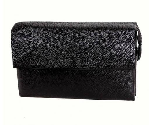 Кожаный клатч мужской черный NAVI 004-3 black, фото 2
