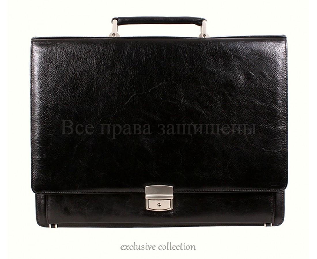 Мужской кожаный портфель черный (Формат: А4 и больше) NAVI кт3526