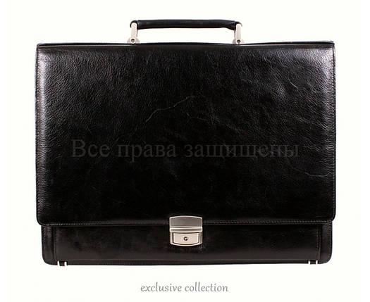Мужской кожаный портфель черный (Формат: А4 и больше) NAVI кт3526, фото 2