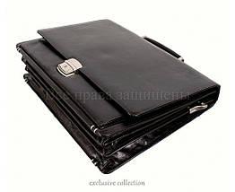 Мужской кожаный портфель черный (Формат: А4 и больше) NAVI кт3526, фото 3