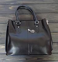 Деловая женская сумка черная с двумя ручками, фото 1