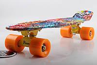 Скейт Пенни Борд Print, Penny Board Original 22 c Рисунком Coloured Graffiti
