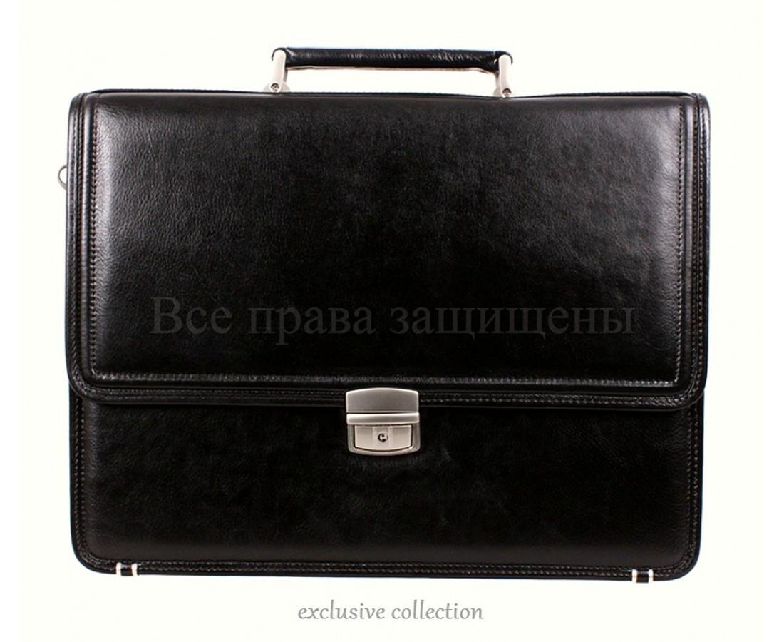 Мужской кожаный портфель черный (Формат: А4 и больше) NAVI кт3458