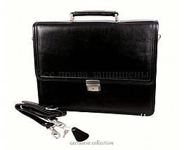 Мужской кожаный портфель черный (Формат: А4 и больше) NAVI кт3458, фото 3
