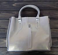Деловая женская сумка серебристая с двумя ручками, фото 1