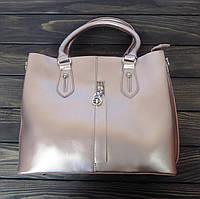 Деловая женская сумка розовая с двумя ручками, фото 1