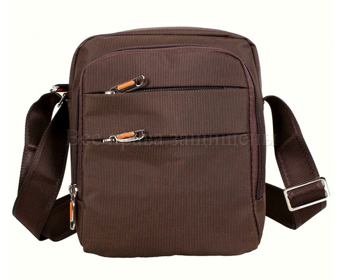 Мужская сумка через плечо ткань кофейный (Формат: больше А5) NAVI 6339-2 coffee