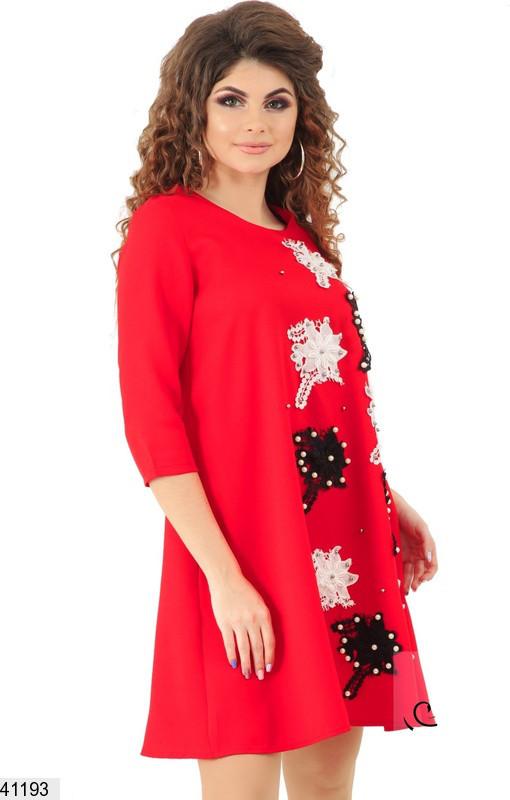 2c55ad4c7a50721 Летнее платье мини свободное рукав три четверти с нашитыми цветами с ...