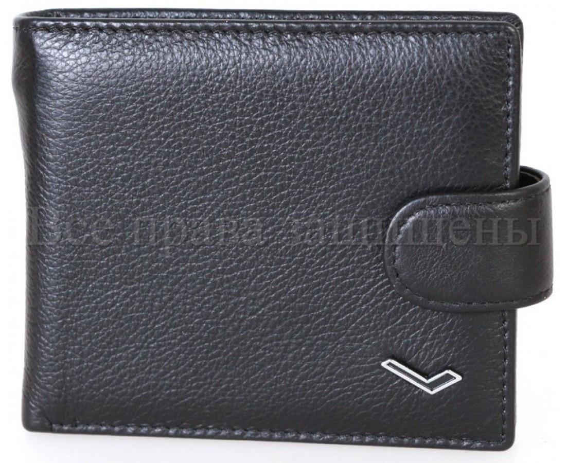 Мужской кожаный кошелек черный WATER LILY WL-0704