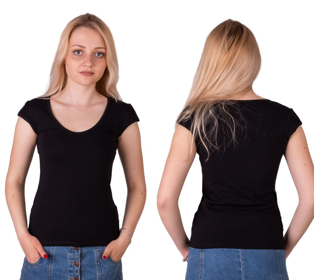 Чорна футболка жіноча спортивна річна без малюнка з коротким рукавом бавовна стрейч трикотажна Україна