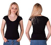 Черная футболка женская спортивная летняя без рисунка с коротким рукавом хлопок стрейч трикотажная (Украина)