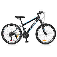 Двухколесный велосипед PROFI 24 дюймов SHIMANO, черно-голубой, G24FIFA A24.1