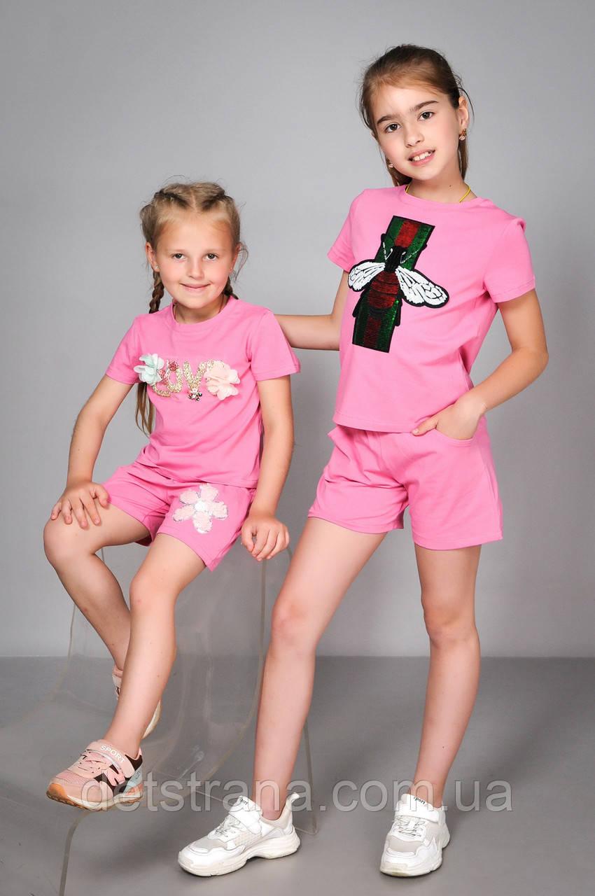 Детский летний костюм футболка и шорты для девочки