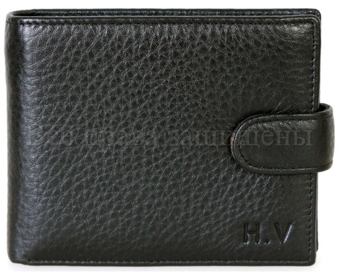 Мужской кожаный кошелек черный H. Verde 536HV