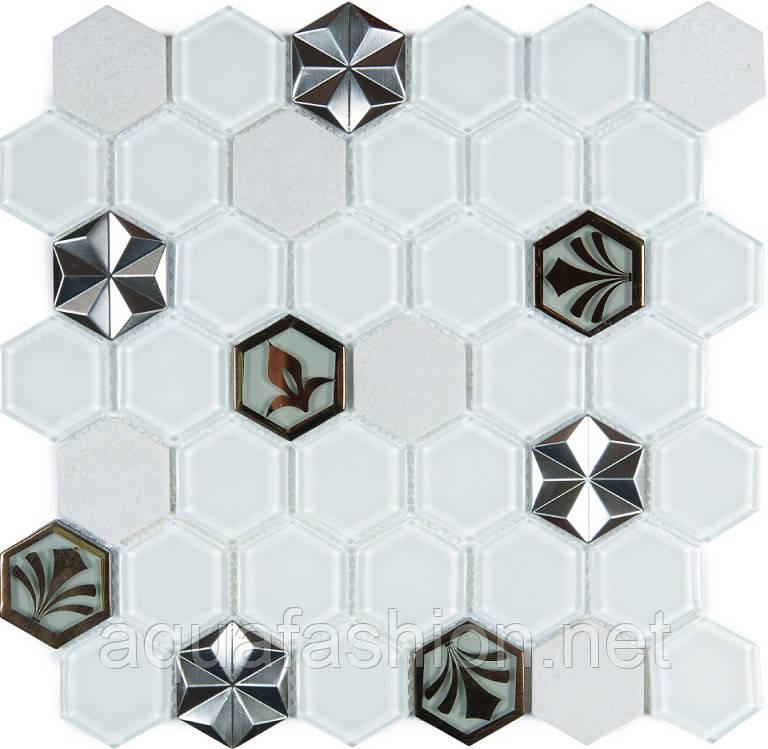 Біла мозаїка стільники з візерунком Vivacer SB10