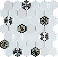 Біла мозаїка стільники з візерунком Vivacer SB10, фото 1