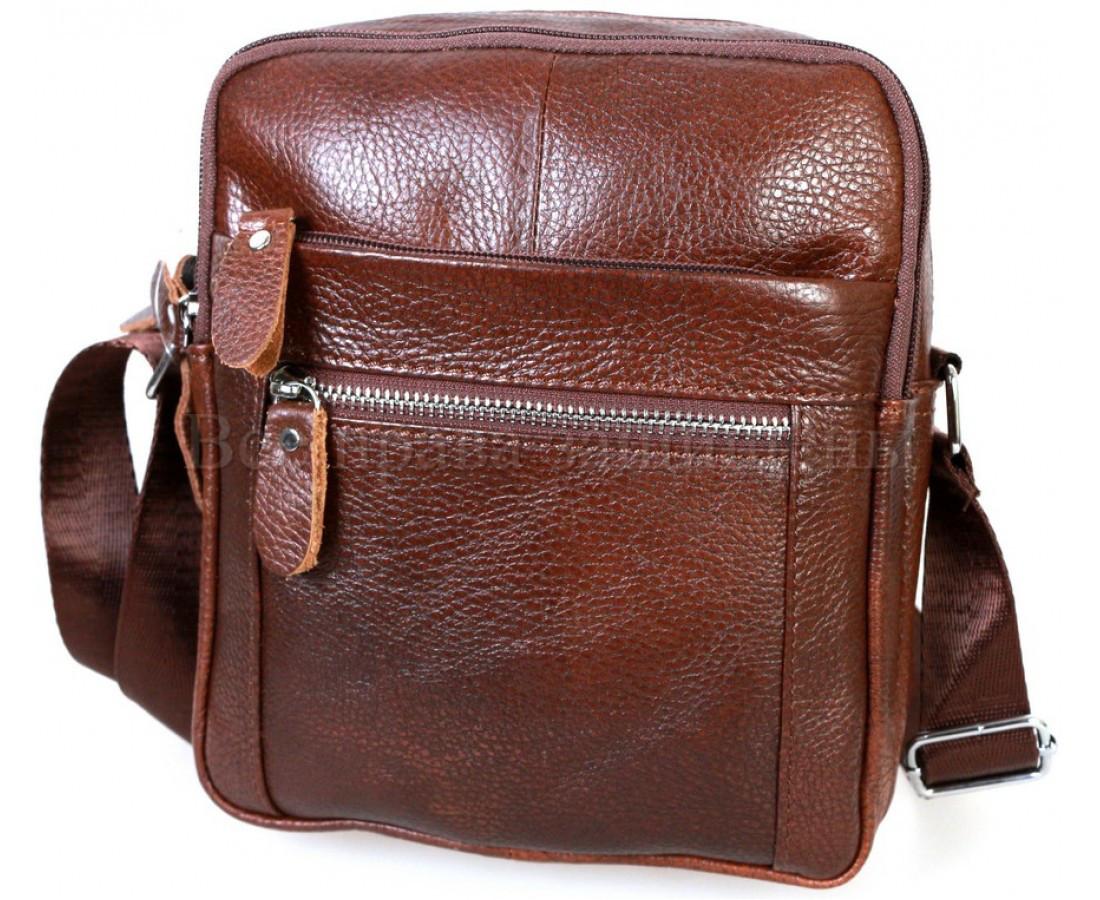 Мужская кожаная сумка через плечо коричневый (Формат: больше А5) NAVI-BAGS NV-3922-cofee