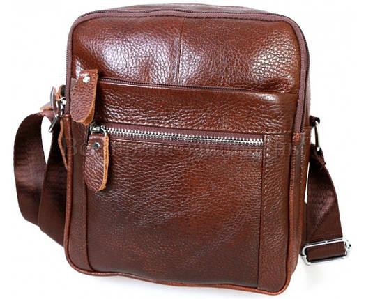 Мужская кожаная сумка через плечо коричневый (Формат: больше А5) NAVI-BAGS NV-3922-cofee, фото 2