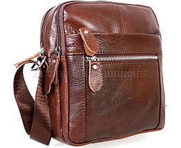 Мужская кожаная сумка через плечо коричневый (Формат: больше А5) NAVI-BAGS NV-3922-cofee, фото 3