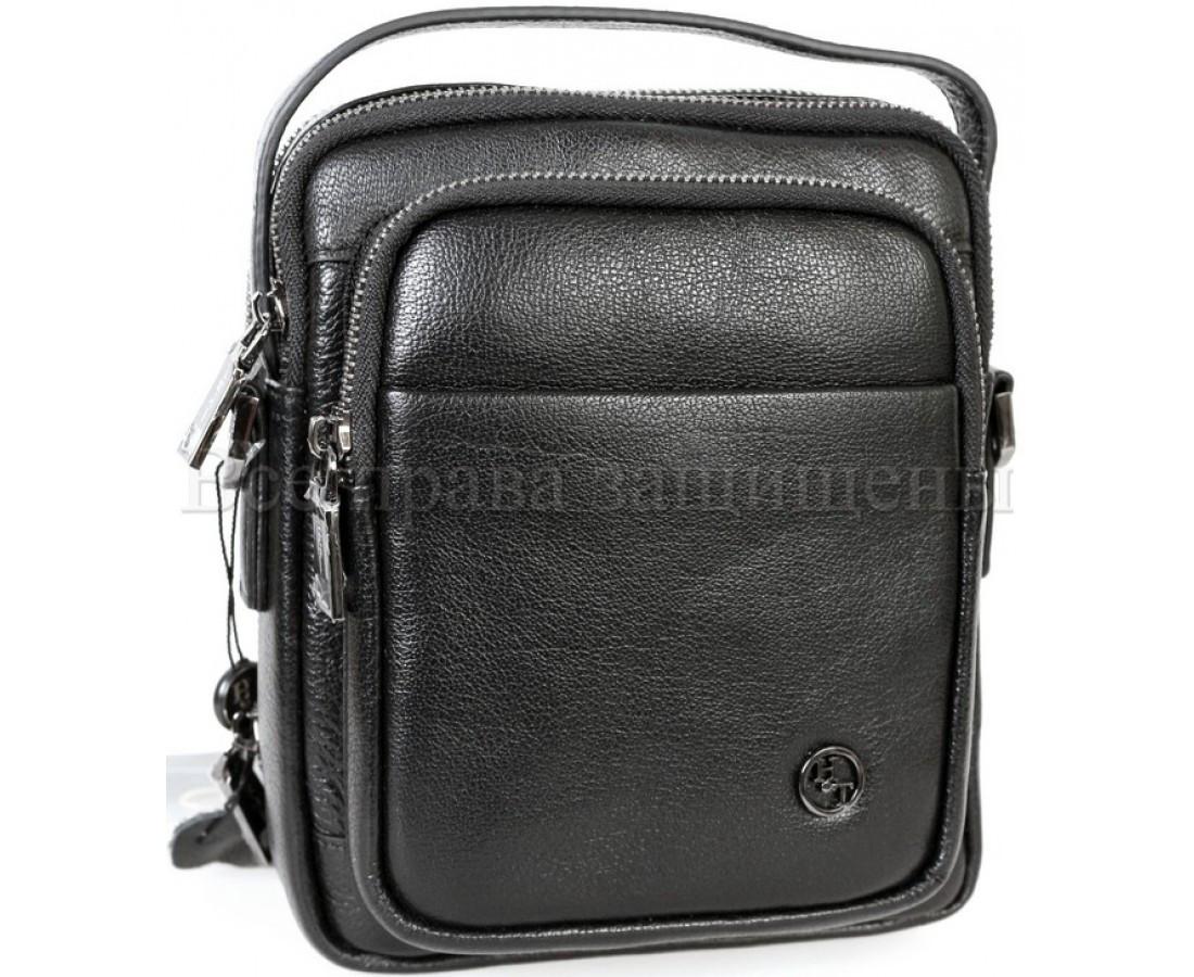 Мужская кожаная сумка через плечо черный (Формат: больше А5) H.T.-Leather HT-5015-5