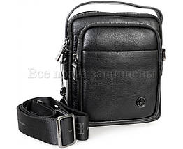 Мужская кожаная сумка через плечо черный (Формат: больше А5) H.T.-Leather HT-5015-5, фото 2