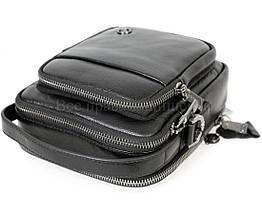 Мужская кожаная сумка через плечо черный (Формат: больше А5) H.T.-Leather HT-5015-5, фото 3