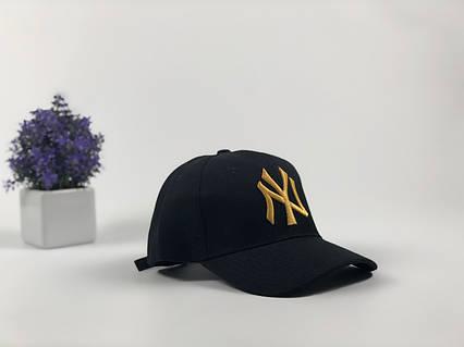 Кепка бейсболка New York Yankees (черная с золотым лого), фото 2