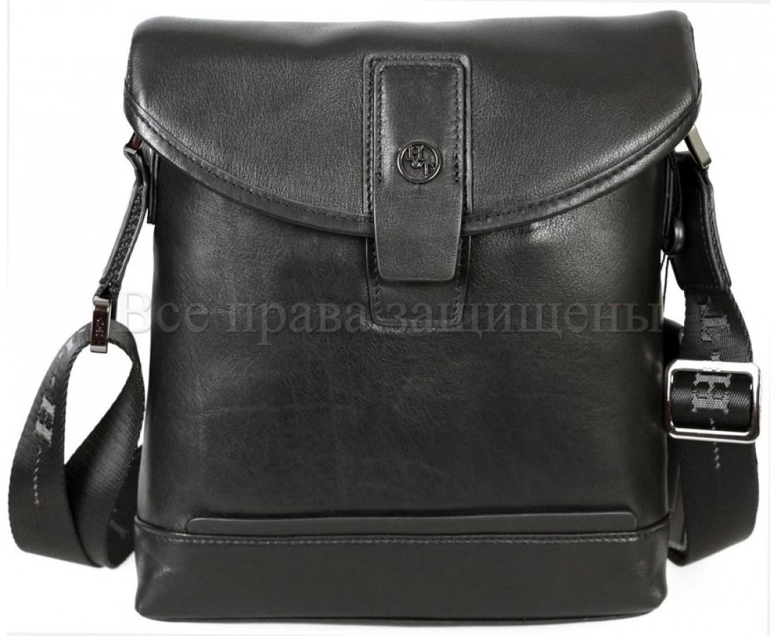 Мужская кожаная сумка через плечо черный (Формат: больше А5) H.T.-Leather HT-9330-3