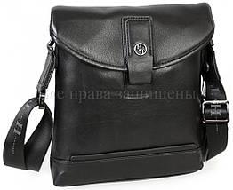 Мужская кожаная сумка через плечо черный (Формат: больше А5) H.T.-Leather HT-9330-3, фото 2