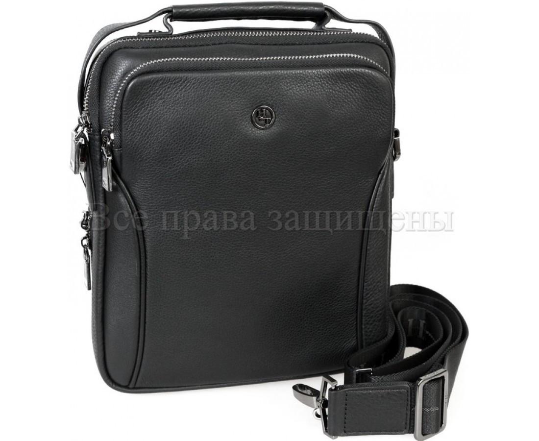 Мужская кожаная сумка через плечо черный (Формат: больше А5) H.T.-Leather HT-5386-3
