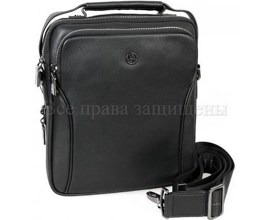 Мужская кожаная сумка через плечо черный (Формат: больше А5) H.T.-Leather HT-5386-3, фото 2