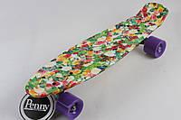 Скейт Пенни Борд Print, Penny Board Original 22 c Рисунком Бабочка в Цветах