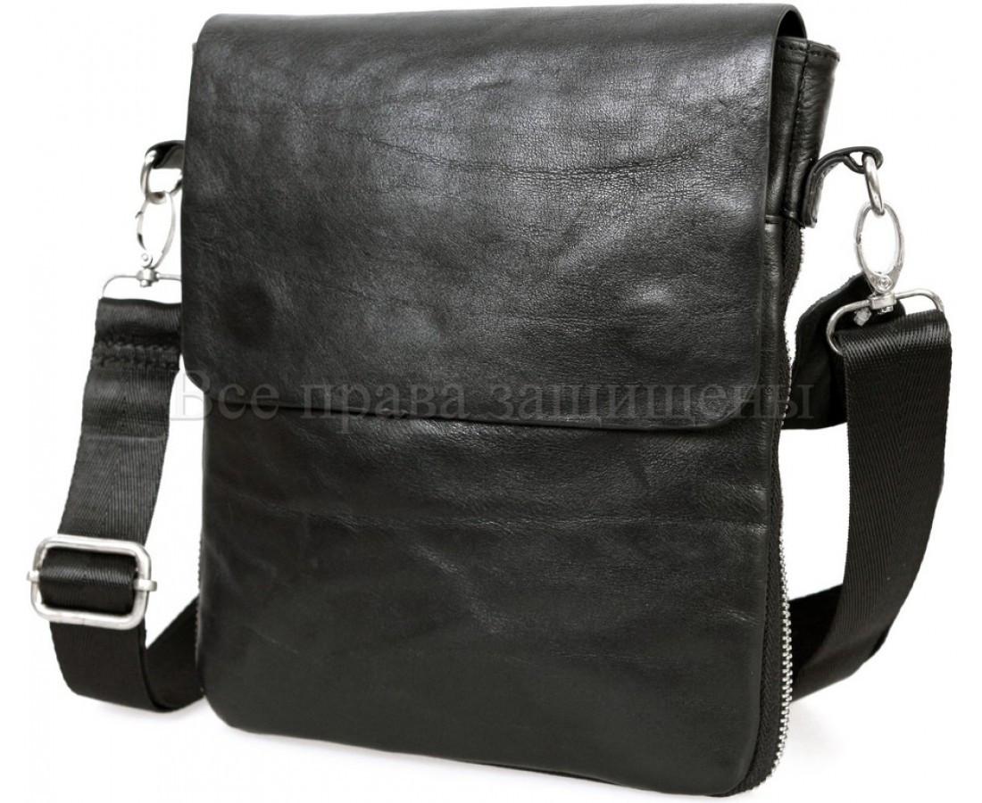Мужская кожаная сумка через плечо черный (Формат: меньше А5) NAVI-BAGS NV-081388-black