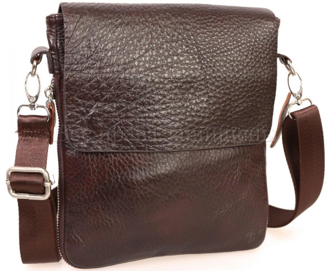 Мужская кожаная сумка через плечо коричневый (Формат: меньше А5) NAVI-BAGS NV-081388-cofee