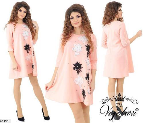 Летнее платье выше колен рукав до локтя цветы жемчуг вискоза персиковое, фото 2