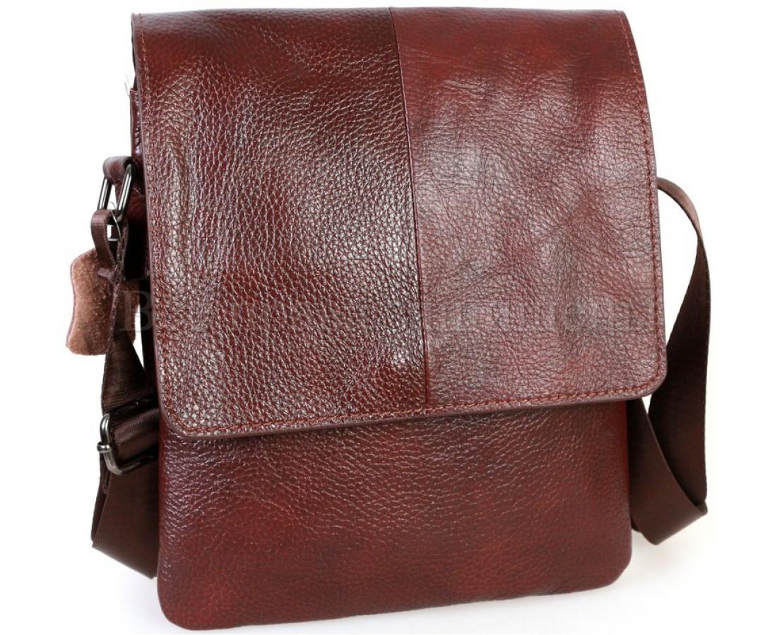 Мужская кожаная сумка через плечо коричневый (Формат: А5) NAVI-BAGS NV-08138-cofee