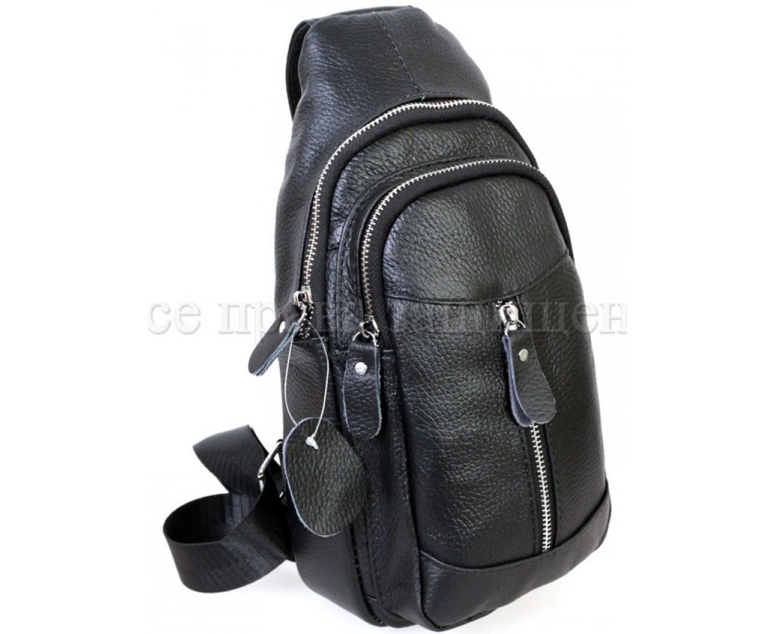 Мужская кожаная сумка через плечо черный (Формат: больше А5) NAVI-BAGS NV-318-2-Black