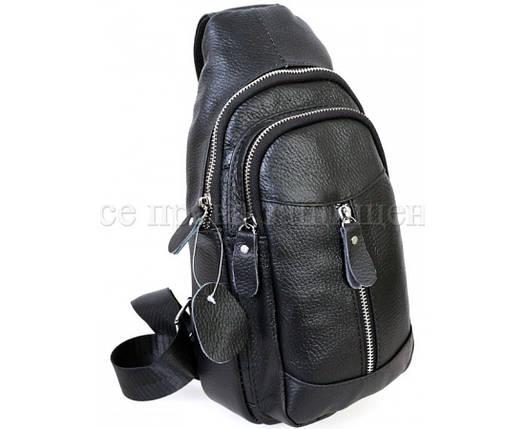 Мужская кожаная сумка через плечо черный (Формат: больше А5) NAVI-BAGS NV-318-2-Black, фото 2