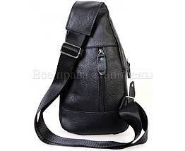 Мужская кожаная сумка через плечо черный (Формат: больше А5) NAVI-BAGS NV-318-2-Black, фото 3