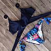 Купальник женский раздельный синий на завязках