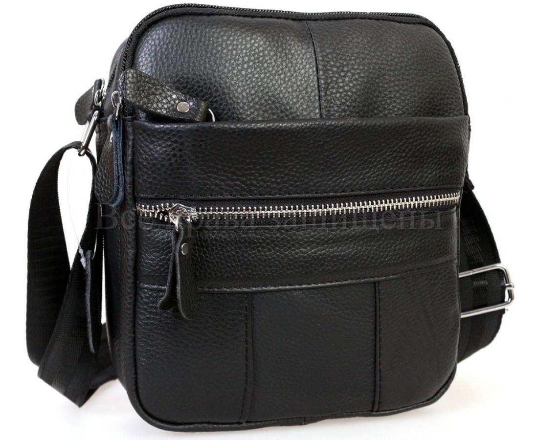 Мужская кожаная сумка через плечо черный (Формат: больше А5) NAVI-BAGS NV-1020Black