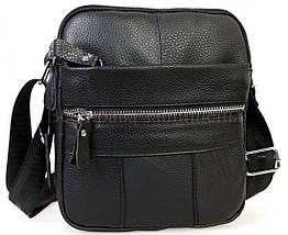 Мужская кожаная сумка через плечо черный (Формат: больше А5) NAVI-BAGS NV-1020Black, фото 2