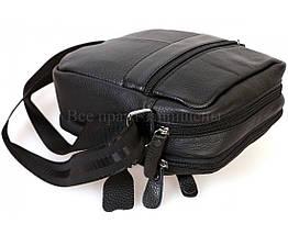 Мужская кожаная сумка через плечо черный (Формат: больше А5) NAVI-BAGS NV-1020Black, фото 3
