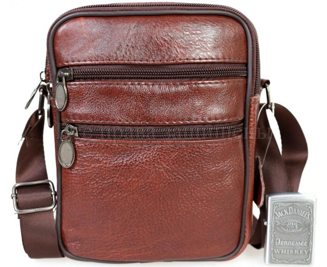 Чоловіча шкіряна сумка коричневий (Формат: менше А5) NAVI-BAGS NV-2366-Brown