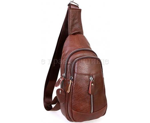 Чоловіча шкіряна сумка через плече коричневий (Формат: більше А5) NAVI-BAGS NV-318-2-Brown, фото 2