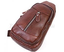 Чоловіча шкіряна сумка через плече коричневий (Формат: більше А5) NAVI-BAGS NV-318-2-Brown, фото 3
