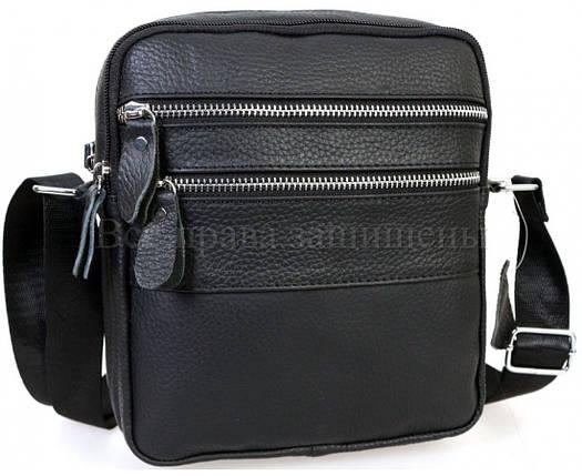 Мужская кожаная сумка через плечо черный (Формат: больше А5) NAVI-BAGS NV-3923-Black, фото 2
