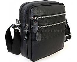 Мужская кожаная сумка через плечо черный (Формат: больше А5) NAVI-BAGS NV-3923-Black, фото 3