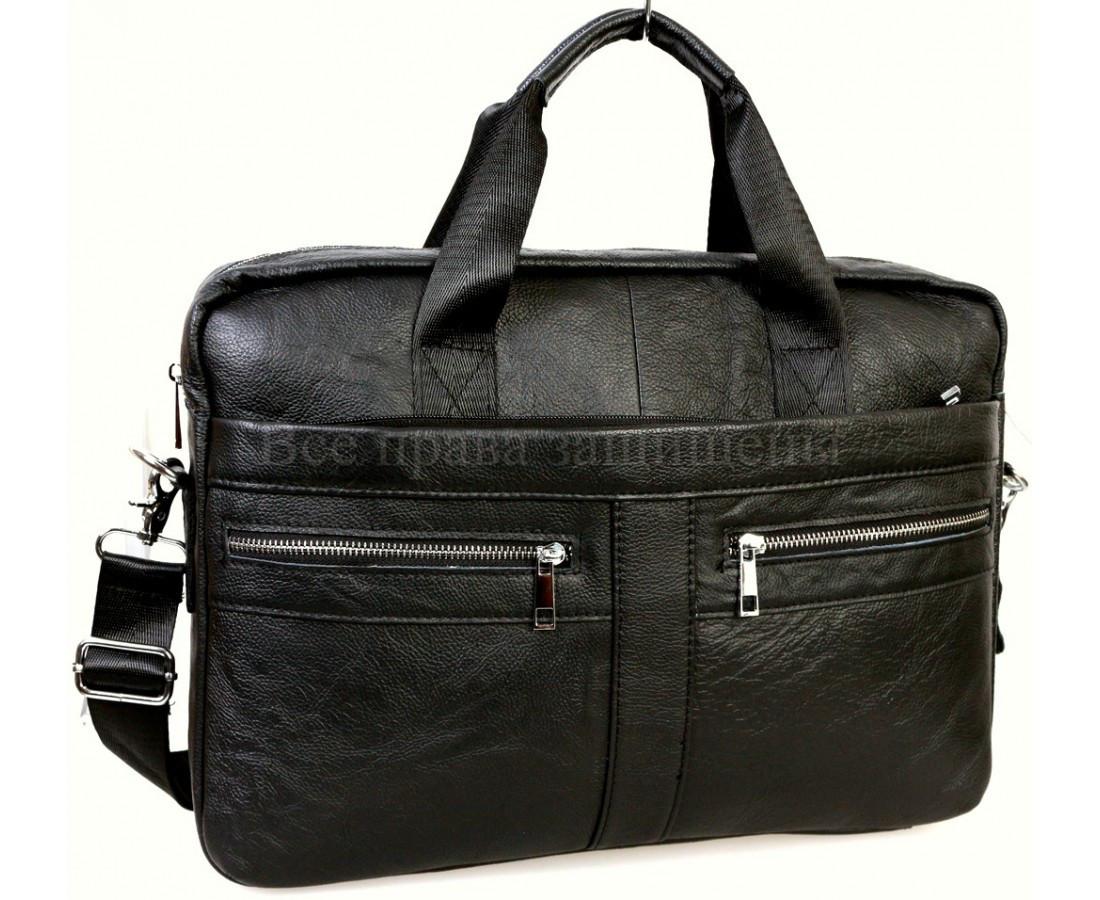 Чоловічий шкіряний портфель чорний (Формат: А4 і більше) NAVI NVP-0213-Black