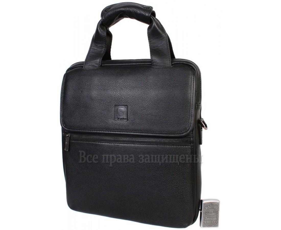 Чоловіча шкіряна сумка чорний (Формат: більше А4) Savio Savio-5010-2